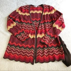 Pendleton Striped Belted Open Front Cardigan